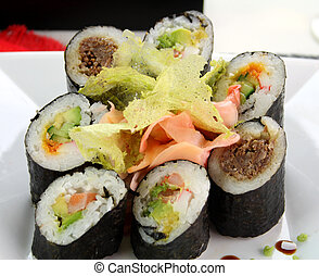 Mixed Sushi - Sushi comprising prawn and avocado rolls, beef...