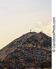 Cristobal - The slums of Lima situated on hill Saint...
