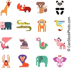Zoo Animal Icons - Zoo Animals. Set of colorful vector...