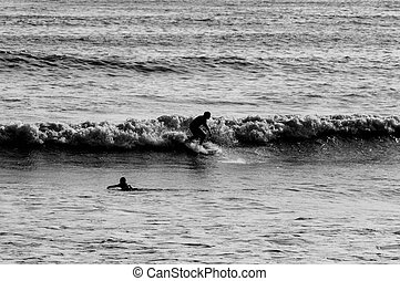 Surfing Silhouette - Backlight Silhouette Surfer in the...