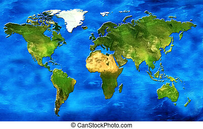 world map - chart of the world its continents and oceans in...