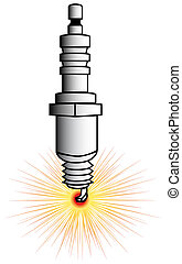 Spark plug - drawing of a driving spark plug