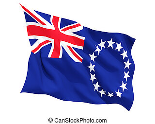 Waving flag of cook islands isolated on white