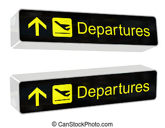 Departures Sign - Airport departures sign with two different...