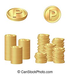 Gold coins point - This image was made by Adobe Illustrator...