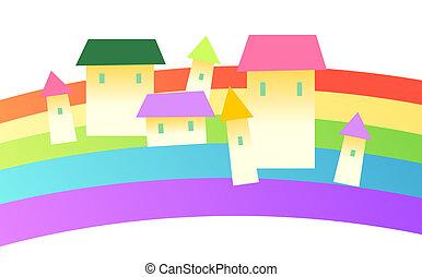 house and rainbow