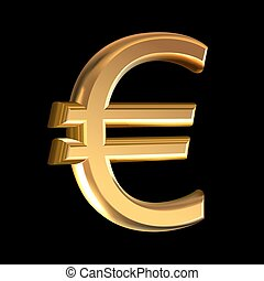 Gold euro sign - Extruded gold euro sign vector on black...