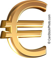 Gold euro sign - Extruded gold euro sign vector on white...