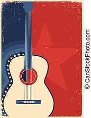 Concert guitar for poster music festival. - Country music...