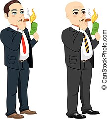 Businessman Lighting Cigar - Two different rich businessman...