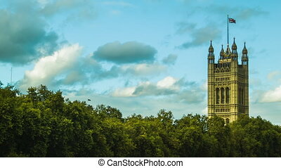 Westminster and a flag, London - Westminster and a flag...