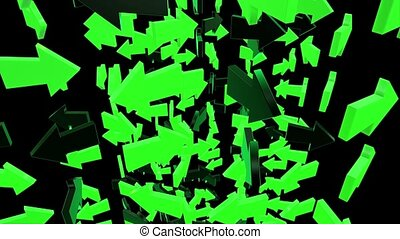Abstract arrows in green and black