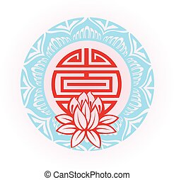 Frame with lotus - Oriental background