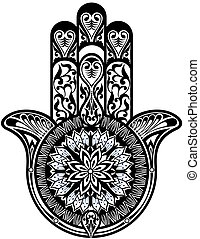 Hamsa symbol - Vector illustration of decorative hand