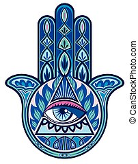 Hamsa hand - Decorative hand with human eye