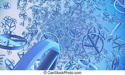 Abstract Peace symbols in blue on blue