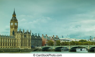 Big Ben painting by lens. Autumn steady shot of Westminster...