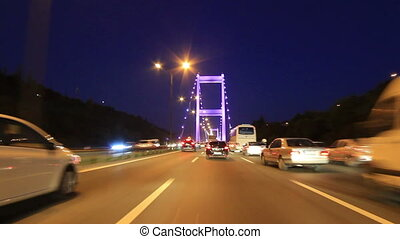 Driving on second bridge Istanbul - Heavy highway traffic is...