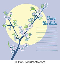 Flowering cherry branch on background of moon