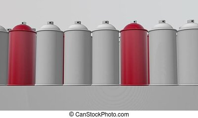 Abstract color spray cans in red