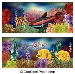 Underwater banners tropical fish - Underwater banners with...