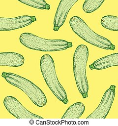 Sketch tasty zucchini in vintage style, vector seamless...