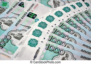 Heap of russian rouble banknotes - Russian currency - heap...