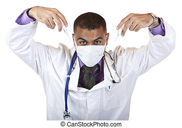 Crazy medical doctor with injection, stethoscope and mask -...