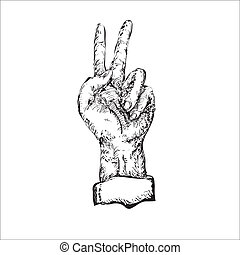 Victory Sign - Victory sign hand drawn illustration in black...