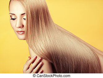 Close-up portrait with long hair - Close-up portrait of a...