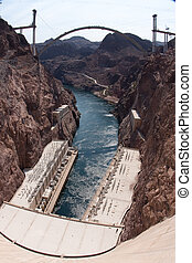 Hoover Dam and the Hoover Dam Bypass Bridge - Hoover Dam...