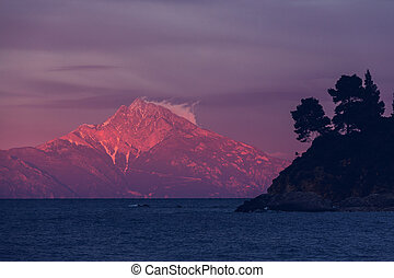 Athos - Sacred mount Athos in Greece Sunset