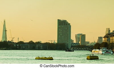 London Sunset, Thames, Shard, City - Sunset in London from...