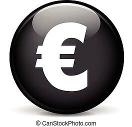 euro icon - Illustration of euro modern design black sphere...
