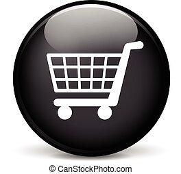 shop icon - Illustration of shop modern design black sphere...