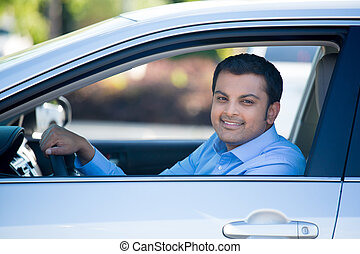 Happy driver - Closeup portrait, young handsome man in his...