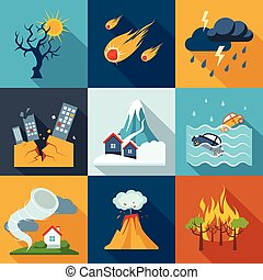 Natural Disaster Icons - A set of natural disaster icons in...