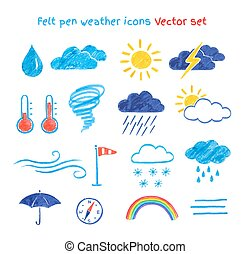 Child drawings of weather symbols - Vector collection of...