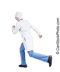 Back view of running doctor in a robe hurrying to help the patient.