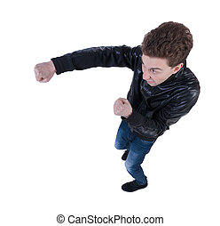 skinny guy funny fights waving his arms and legs Isolated...
