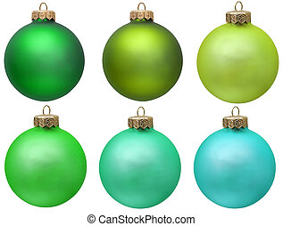 green christmas ornament collection .