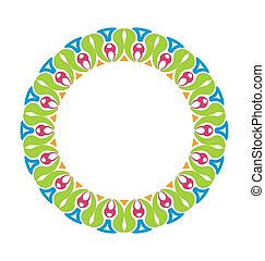 Abstract Ornamental Colorful Round Framework