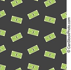 Seamless Pattern with American Money Dollars Bank Notes -...