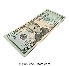 twenty dollar bill - Single twenty dollar bill isolated on...