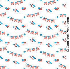 American Patriotic Seamless Pattern, US National Colors -...