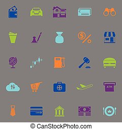 E wallet icons fluorescent color on gray background, stock...