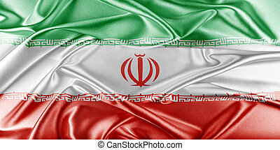 Iran Flag Flag with a beautiful glossy silk texture