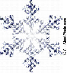 Snow flake and squares - a snow flake build up of many...