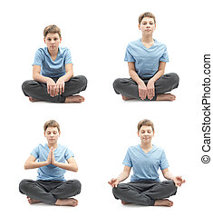 Young boy doing yoga in a lotus position, set of four stages...
