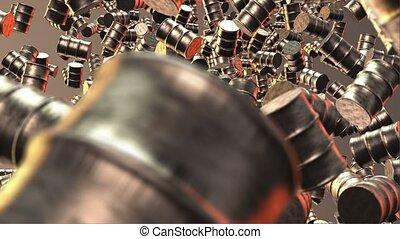Metal barrels on brown